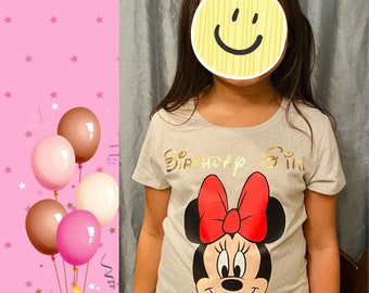 Minnie Shirt with Matching Mouse Ears Set, Birthday outfit, custom tshirt for girls