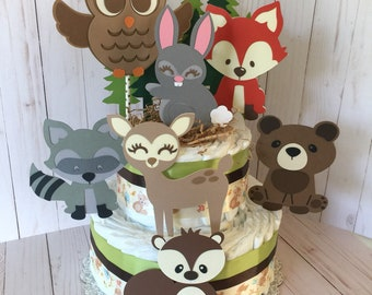 Woodland Diaper Cake, Forest Animals Baby shower Diaper Cake, Woodland baby Shower Centerpiece, Fox Baby Shower Decorations, Woodland baby