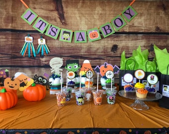 Halloween Baby Shower Theme Bundle, Halloween Party Decorations, Diaper Cakes, Fall theme Baby Shower, Toppers, Centerpieces, Party Favors