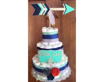 Tribal Baby shower Decorations, Tribal Boho Diaper Cake, Be Brave Baby Shower, Wild Free Diaper Cake, Adventure awaits baby shower