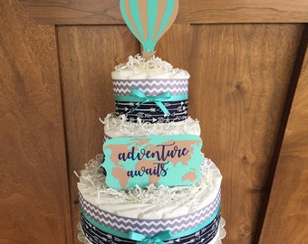Adventure Awaits Diaper Cake, Hot Air Balloon Diaper Cake, Adventure Awaits Baby Shower Table Centerpiece, Hot Air Balloon Baby Shower decor