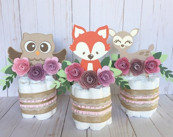Woodland Baby Shower, Woodland cake, Floral baby decor, baby shower Centerpieces, Floral Baby Shower Supplies