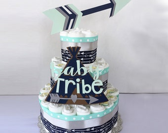 Tribal Baby Shower Diaper Cake, Tribal Baby Shower Topper, Arrows Teepee Baby Shower Decor Centerpiece, Wild Free table decor, boho baby