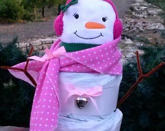 Diaper Cake Snowman. Girl Diaper Cake. Baby Shower Diaper Cake. Baby Girl Diaper Cake. Diaper Cakes For Girls. Winter Theme. Baby Blanket.