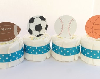 Sports Diaper Cakes, Football Baseball basketball soccer Baby Shower Centerpieces, Sports Baby Gift, Sports fan shower, new Dad sports fan