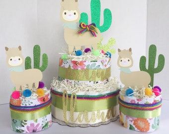Llama cactus baby shower Centerpiece, fiesta baby shower, cactus baby decor, llama baby, boho baby shower decor, fiesta Diaper Cake
