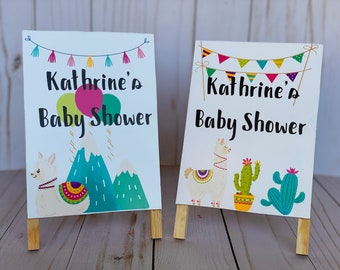 Llama Mountains Baby Shower Sign, Baby Shower Decorations, Cactus baby shower sign