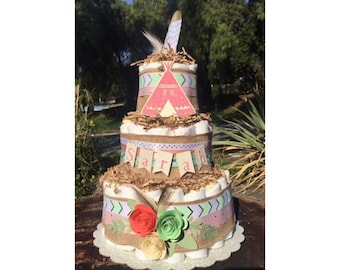Boho Diaper Cake, Tribal Diaper Cake, Boho style baby shower decorations, Teepee Diaper Cake