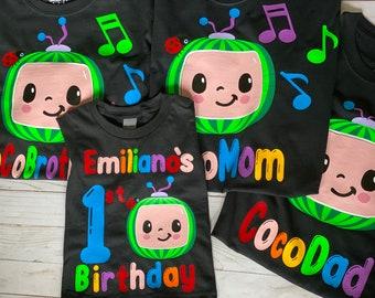 Cocomelon Family Set Birthday Shirts, Cocomelon Birthday Party, First Birthday, Toddler Birthday, Photo Props Kids birthdays
