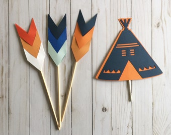 Tribal cake toppers, Tribal party decorations, Arrows cake toppers, Teepee Cake toppers
