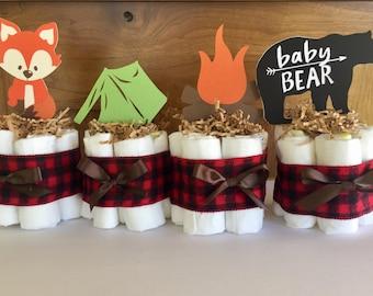 Woodland baby shower decorations, lumberjack baby shower theme decor, woodland diaper cakes, lumberjack buffalo plaid baby shower