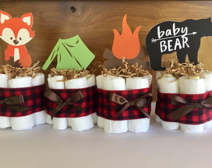 Featured listing image: lumberjack baby shower diaper cake, camping baby shower theme decor, woodland diaper cake, lumberjack buffalo plaid baby shower decorations