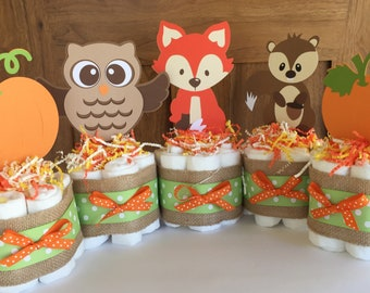 Fall baby shower decorations,Lil pumpkin baby shower decor, Pumpkin Baby, Woodland diaper cakes centerpieces,Harvest Baby Shower Decorations