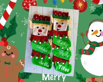 Christmas Stockings Personalized, Elf Christmas Stocking, Elf on the Shelf