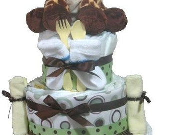 Giraffe diaper cake,  Diaper centerpieces, Diaper Cake. Diaper centerpiece, Diaper raffle Giraffe Baby Shower Diaper Cake. Neutral baby