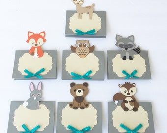 Woodland animals place cards, woodland baby shower decorations, woodland animals table settings, forest animals placecards, tags