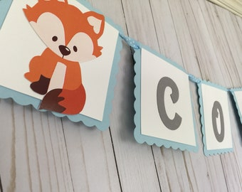 fox banner, woodland baby shower, first birthday, tribal banner, It's a boy banner, woodland banner, woodland decorations