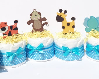 Jungle Baby Shower Centerpieces, Blue baby centerpieces, Safari Baby Shower Diaper Cake Centerpieces,safari baby shower cakes, jungle diaper