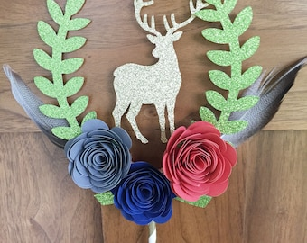 Wedding Cake Topper, Deer Antler Cake Topper, rustic wedding cake topper, Gold Antlers Cake topper, Floral Antler Diaper Cake, Shabby Chic
