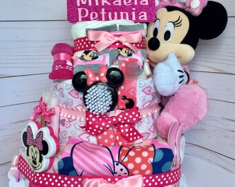 Minnie Mouse Diaper Cake, Girl Diaper Cake, Girl Baby Shower Diaper Cake, Girl Shower Supplies, Girl Shower Centerpiece, Girl Gift Basket