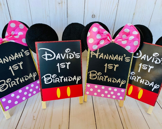 Featured listing image: Birthday Party Handmade Decorations, Mickey Minnie Birthday Decorations, Minnie Party Decor, Mickey, Signs, table centerpieces