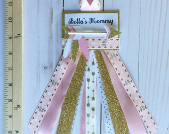 Pink Tribal Mommy Pin, Mommy to be pin, Mommy pin, its a girl pin, arrows baby shower