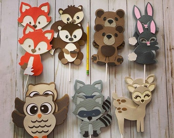 Woodland Animals Cake Toppers, woodland animals party, Forest Baby Shower Decorations, Birthday,  Forest, Table centerpiece, lumberjack