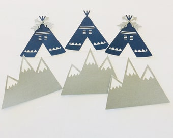 Teepee mountains cake toppers, adventure awaits cake toppers