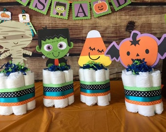 Halloween Cake Toppers, October Party Decor, Baby shower, birthday, Frankenstein, pumpkin cake topper
