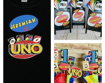 Uno Party Decorations, Uno Birthday, Uno first birthday, centerpieces, Uno shirt