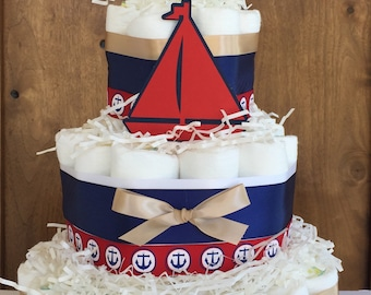 Ahoy it's a boy baby shower Centerpiece, Nautical decorations,Sail boats shower,Nautical diaper cake,sailor baby shower decor
