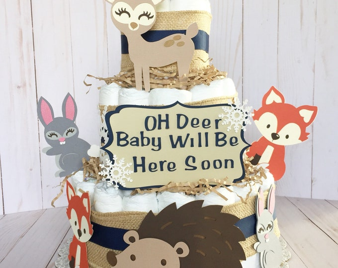 Featured listing image: Winter forest animals baby shower decorations, Diaper Cakes, woodland animals baby shower, forest table decorations, woodland sign