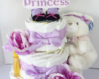 Girl shower gift,Shower Centerpiece for girl, diaper cake for girls, layette set