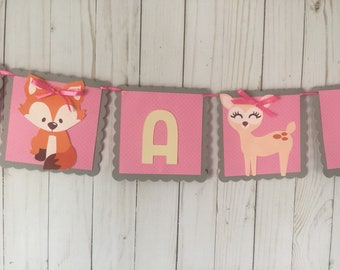 Woodland baby showe girl banner, its a girl banner, baby shower banner, custom name banner