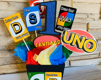 UNO Birthday Party Centerpieces, Set of 2, first birthday fiesta decor, 1st birthday, birthday party decorations