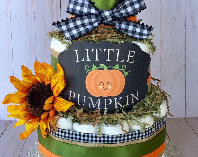 Featured listing image: Lil Pumpkin Baby Shower Table Centerpiece, Mommys little pumpkin pin, Fall Shower Decor, Fall in love, Diaper Cake, Fall floral baby shower