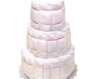 White Diaper Cake, Plain Diaper Cake, Undecorated Diaper Cake, DIY Diaper cake, Diaper Centerpiece, Diaper Centerpieces