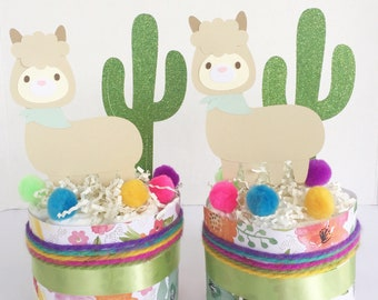LLama cactus baby shower decorations, llama cactus centerpiece, boho baby shower centerpiece, llama cactus diaper cake, llama baby shower