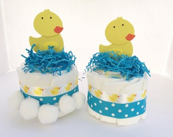 Duck baby shower decorations, Duck Table decor, rubber ducky baby shower decor, Table centerpiece, Duck diaper cakes