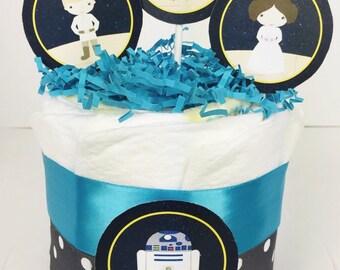 Star Wars Diaper Cake, Star Wars baby centerpiece, Star Wars baby shower
