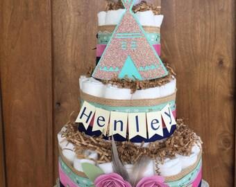Tribal diaper cake, girl diaper cake teepee, rustic diaper cake, floral lace diaper cake, boho tribal diaper cake, woodland diaper cake,