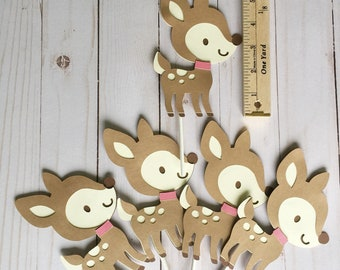 Deer Cake Toppers, Forest Animal Party Decorations, Woodland Baby Shower Cake Decorations, Cupcake Toppers