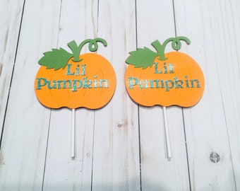 Pumpkin Toppers, Lil Pumpkin Baby's shower, Pumpkin mama, Fall baby shower Decor