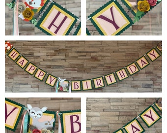 Woodland baby shower banner, birthday banner,  forest baby shower banner, it's a girl banner, woodland decorations, baby shower decor