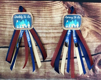 Lumberjack Mommy to be pin, daddy to be pin, corsage set