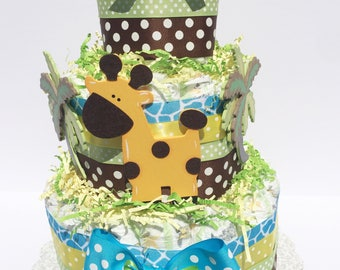Safari Animals Diaper Cakes, Jungle Safari Diaper Cake baby shower centerpiece, Neutral Diaper Cakes