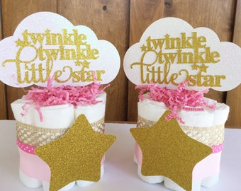 Twinkle Twinkle Little Star Centerpiece, Baby Shower, Diaper Cakes, Pink Girl Twinkle Little Star Decorations, Girl Shower Table Decor Stars
