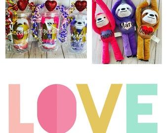 Valentines Tumbler Personalized with Plush Sloth, Valentines decor