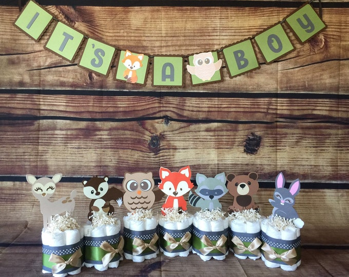 Featured listing image: Woodland Table Decorations, Woodland Forest Diaper Cakes, Forest Baby Shower Centerpieces, Forest Animals Diaper Cakes Table