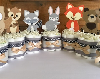 Woodland Table Decorations, Woodland Forest Diaper Cakes, Forest Baby Shower Centerpieces, Forest Animals Diaper Cakes Table